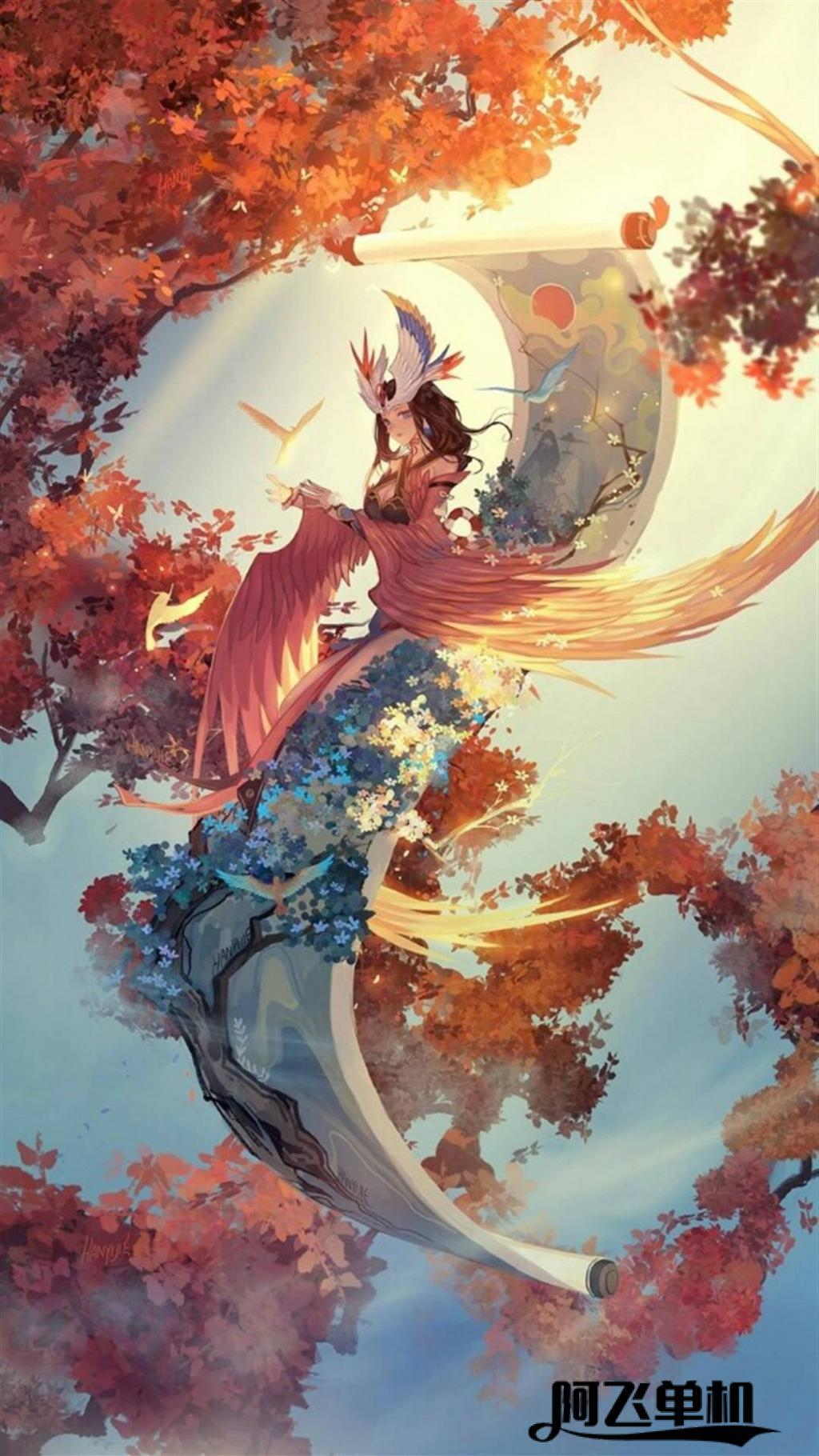 阴阳师画中仙花鸟卷高清手机壁纸